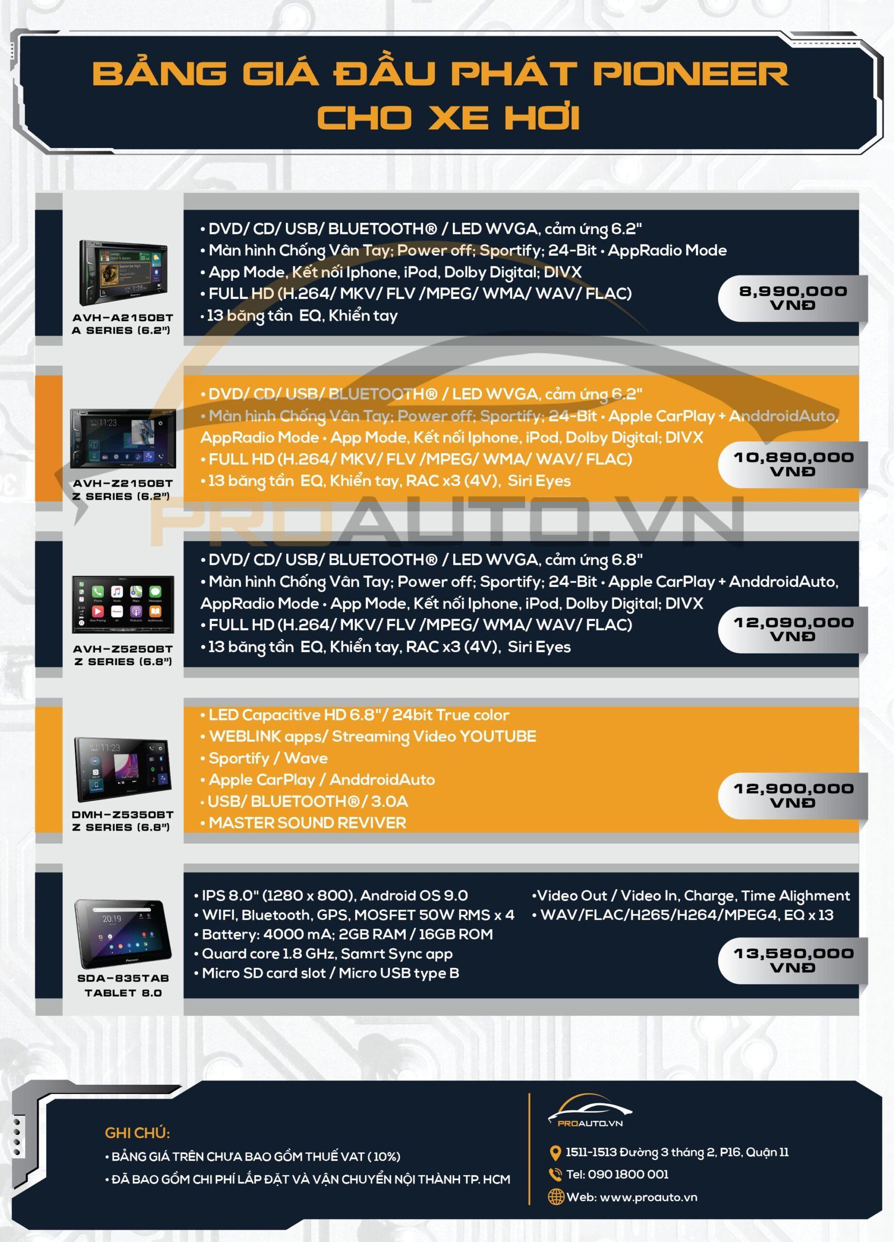 Bảng giá màn hình ô tô Pioneer